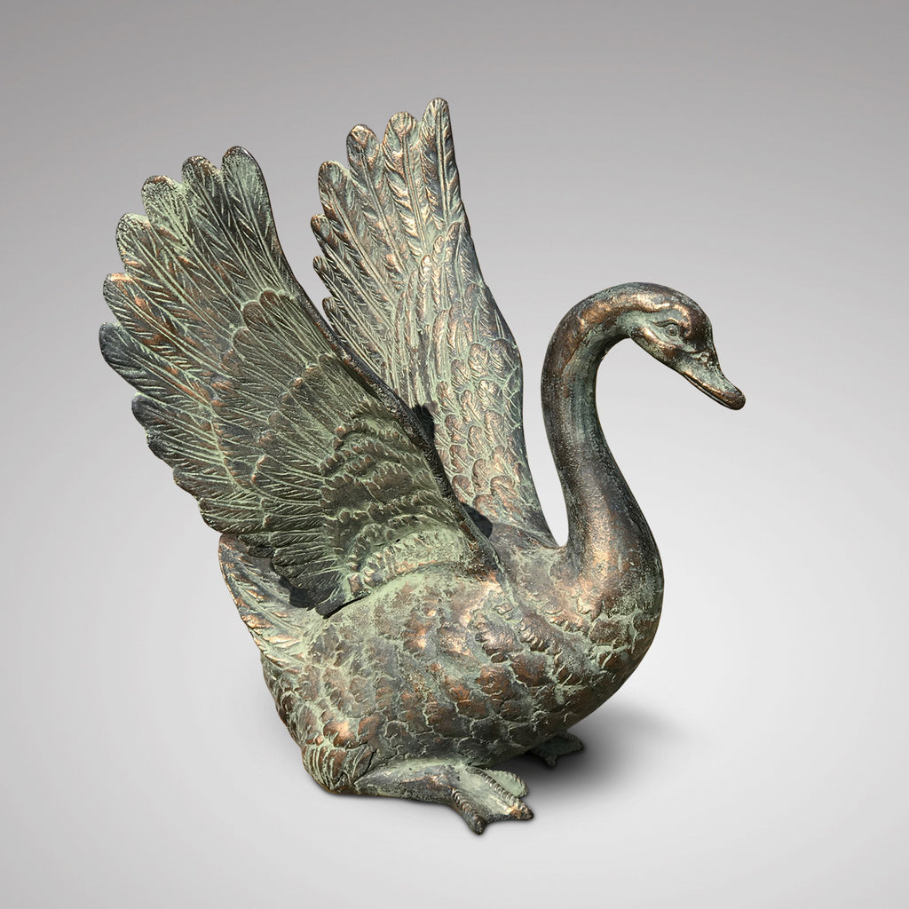 20th Century Cast Copper Alloy Swan - Main Side View - 1