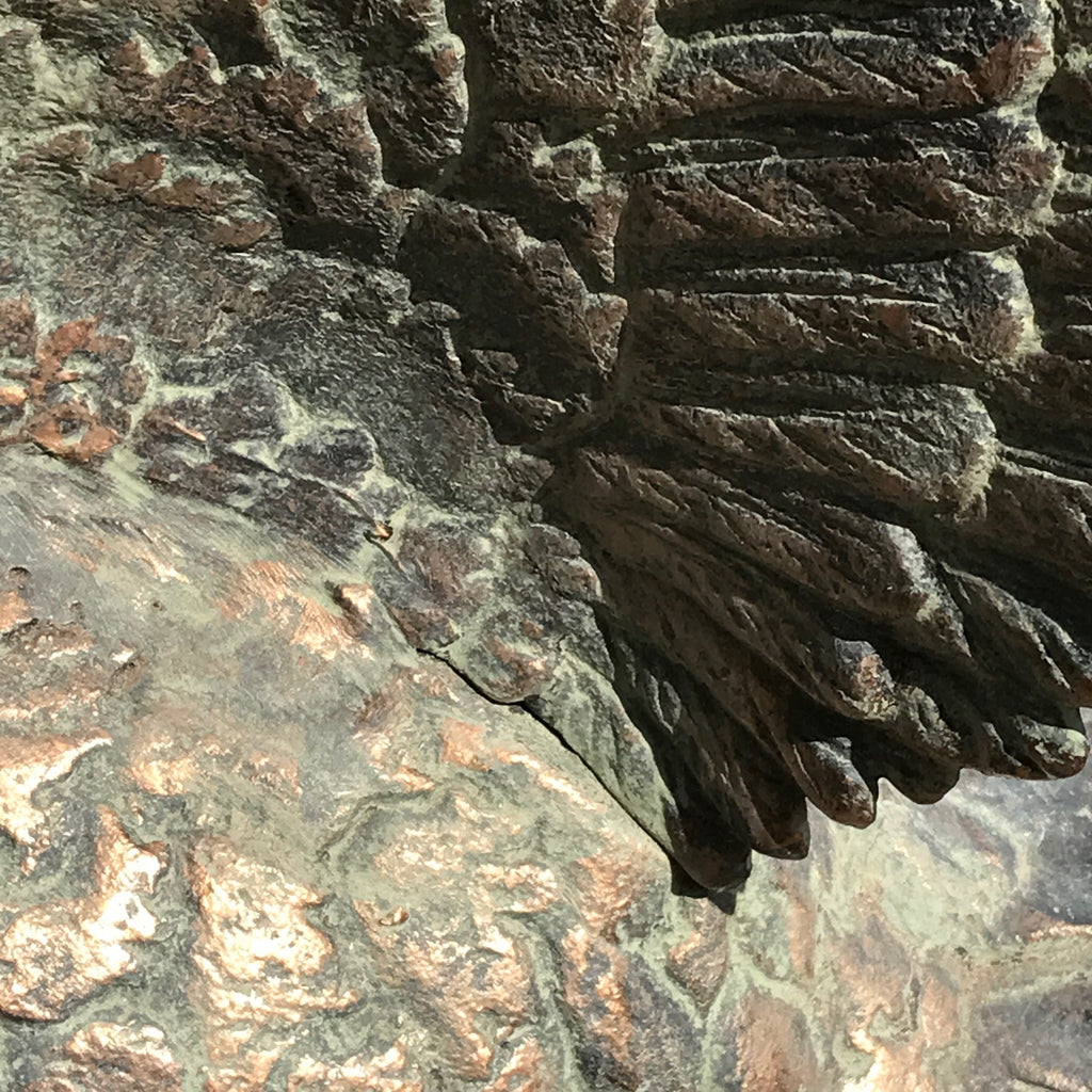 20th Century Cast Copper Alloy Swan - Wing Detail View - 5