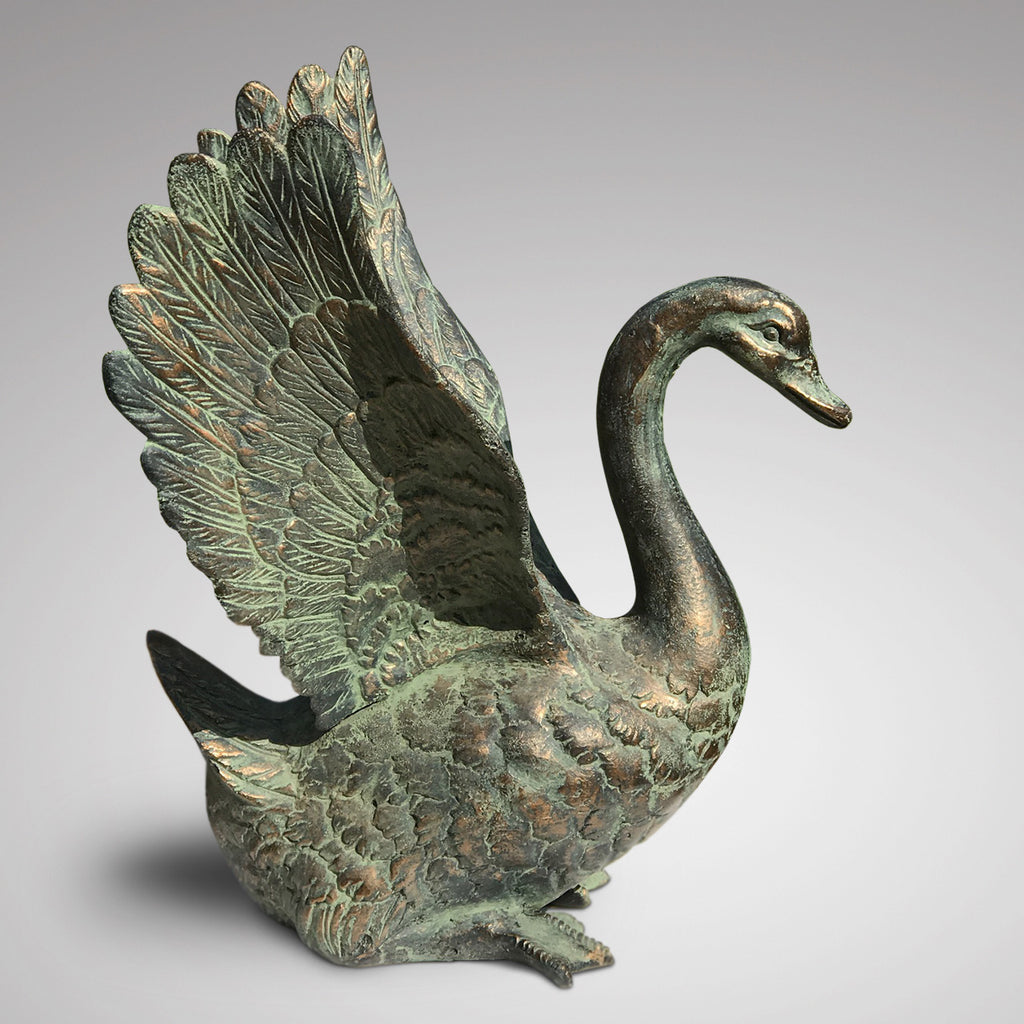 20th Century Cast Copper Alloy Swan - Side View - 4