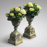 Pair of Victorian Cast Iron Urns on Plinths - Main View - 1