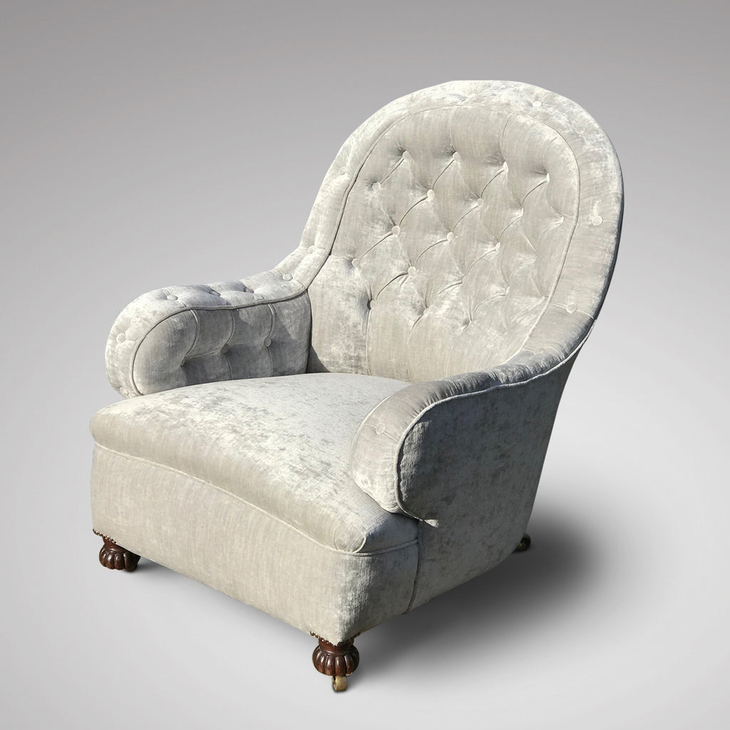 19th Century Buttoned  Armchair - Front & Side View - 3