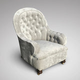 19th Century Buttoned  Armchair - Front & Side View - 2