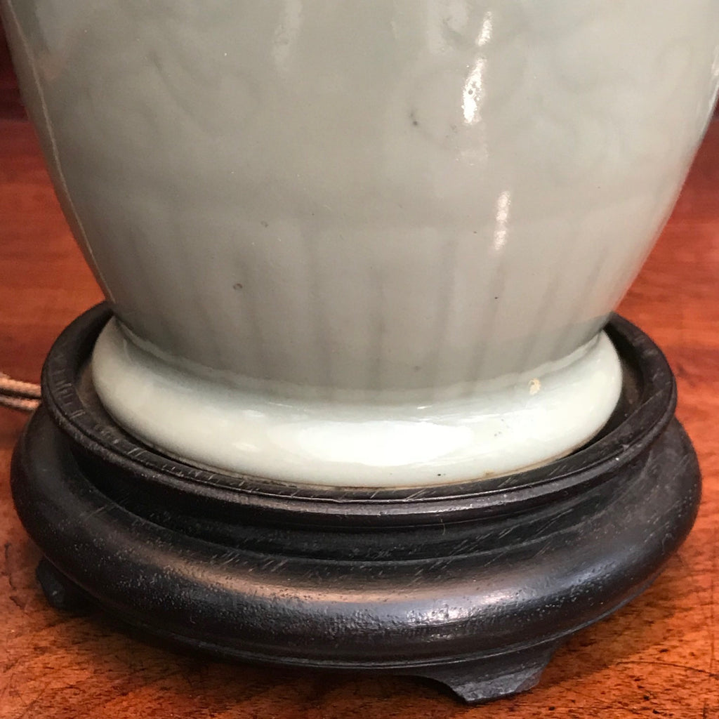 19th Century Chinese Celadon Table Lamp - Detail View of Base - 5