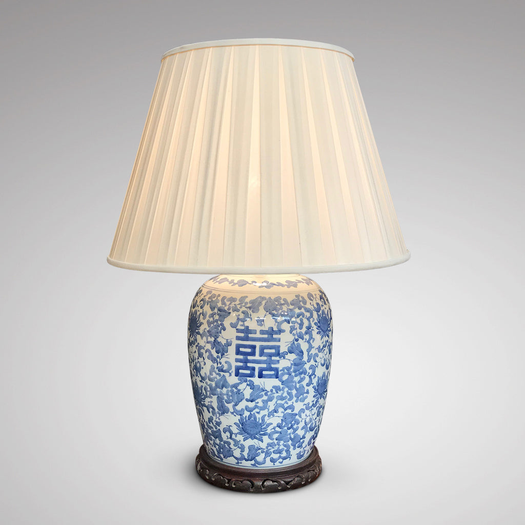 Large Chinese Blue & White Lamp - Main View Illuminated - 1