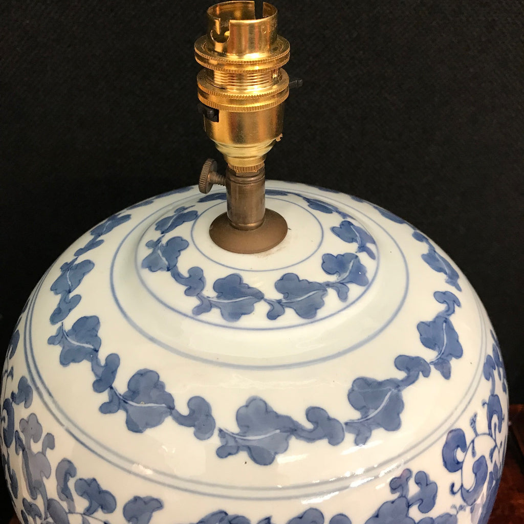 Large Chinese Blue & White Lamp - Light Fitting Detail View - 4