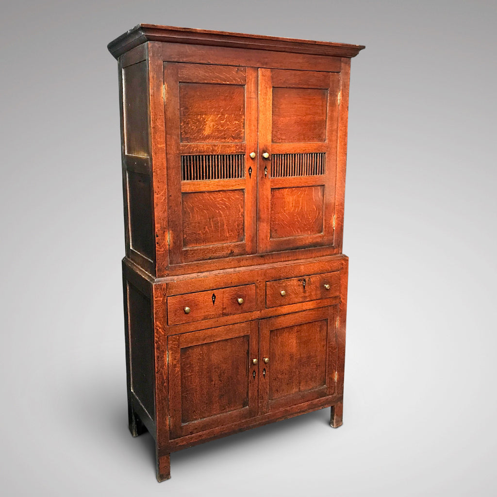 Early 19th Century Welsh Oak Bread & Cheese Cupboard - Front & Side View - 2