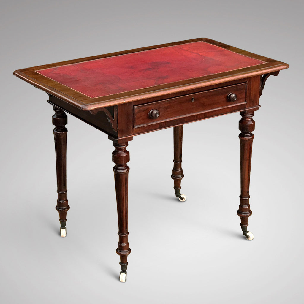 19th Century Mahogany Writing Table with Tooled Leather Top - Main View - 1