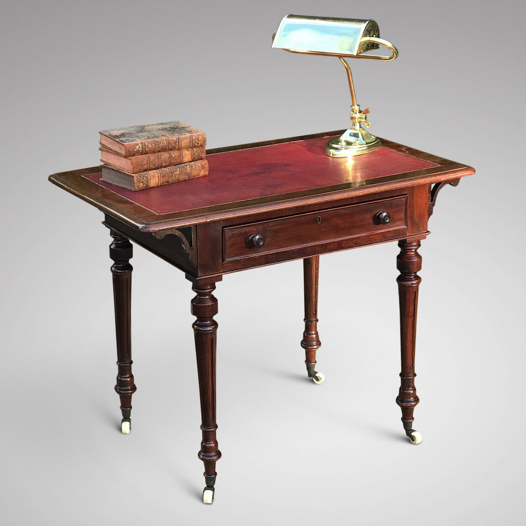 19th Century Mahogany Writing Table with Tooled Leather Top - Main View - 2