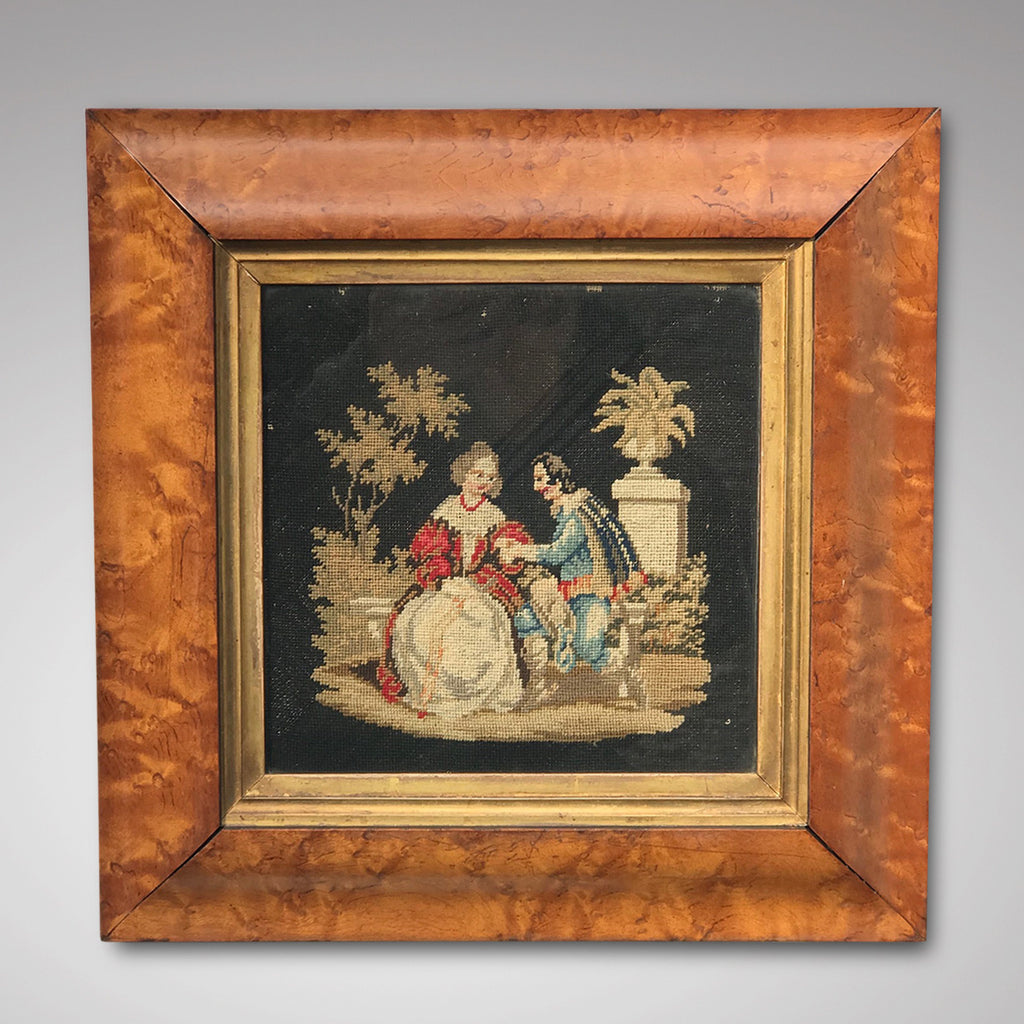 19th Century Needlework Picture in Maple Frame - Main View - 1