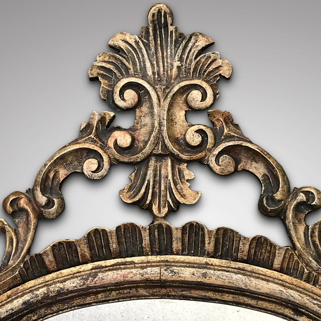 Pair of Early 20th Century Italian Silver Gilt Mirrors - Top Detail View - 2