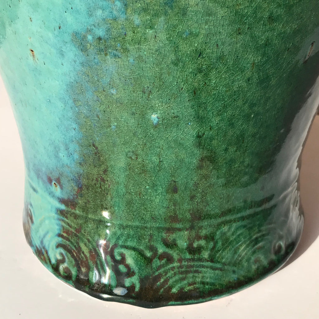 19th Century Chinese Jun Stoneware Vase & Cover - Detail of Base Decoration - 5