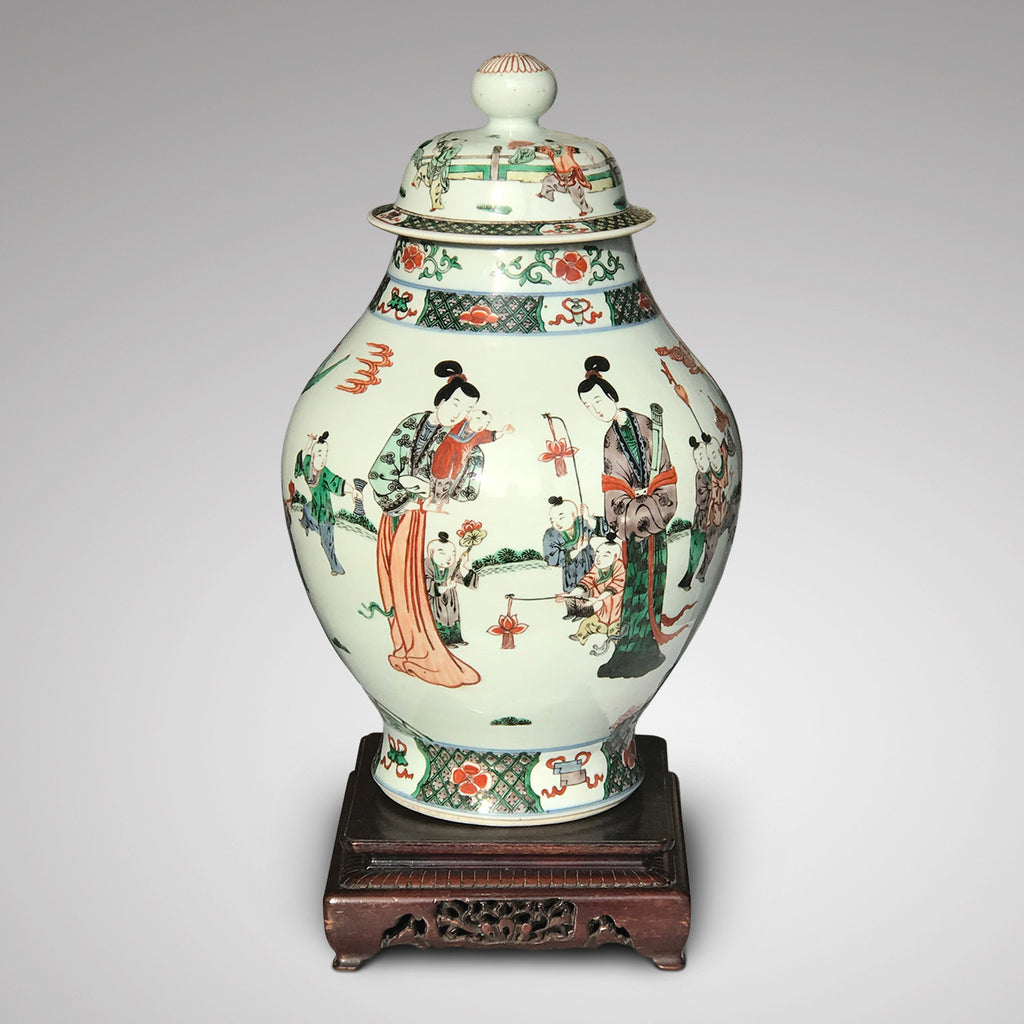 Late 18th/Early 19th Century Chinese Vase with Bud Finial - Front View - 2