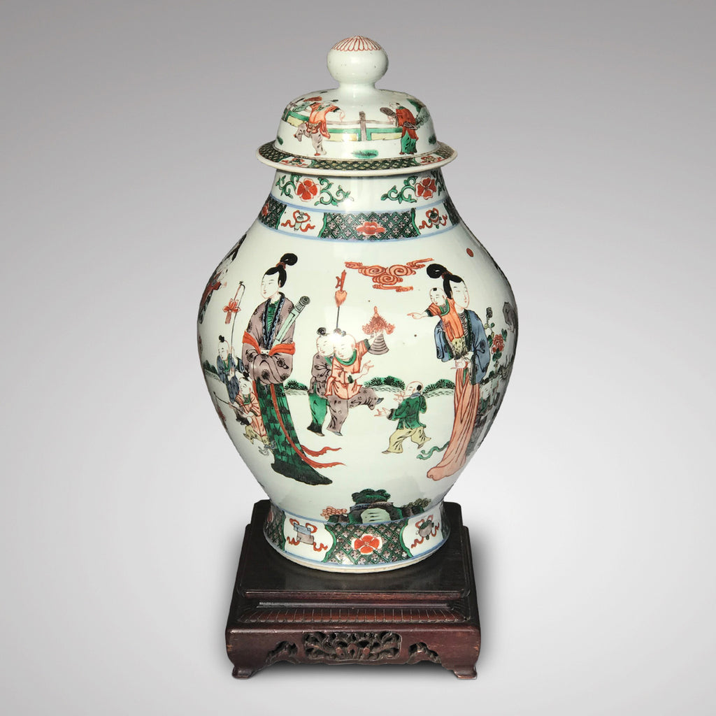 Late 18th/Early 19th Century Chinese Vase With Bud Finial - Front View - 4