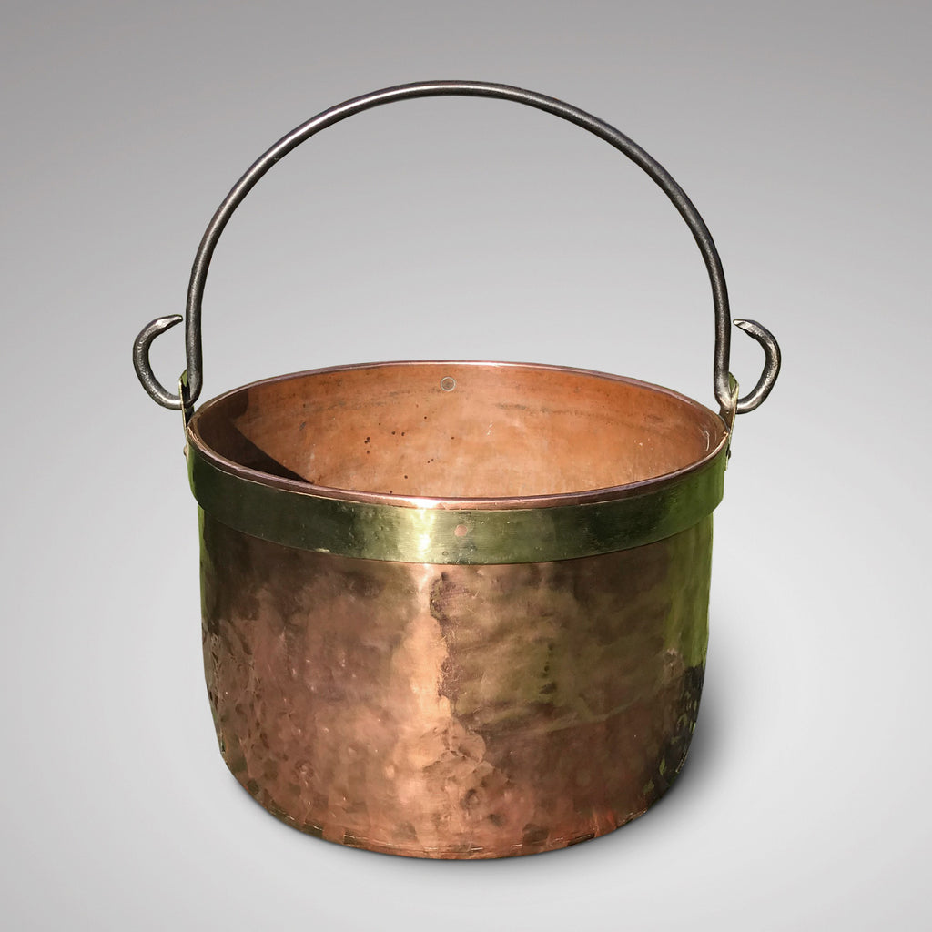 Large 19th Century Copper & Brass Bound Log Bin - View With Handle Up - 2