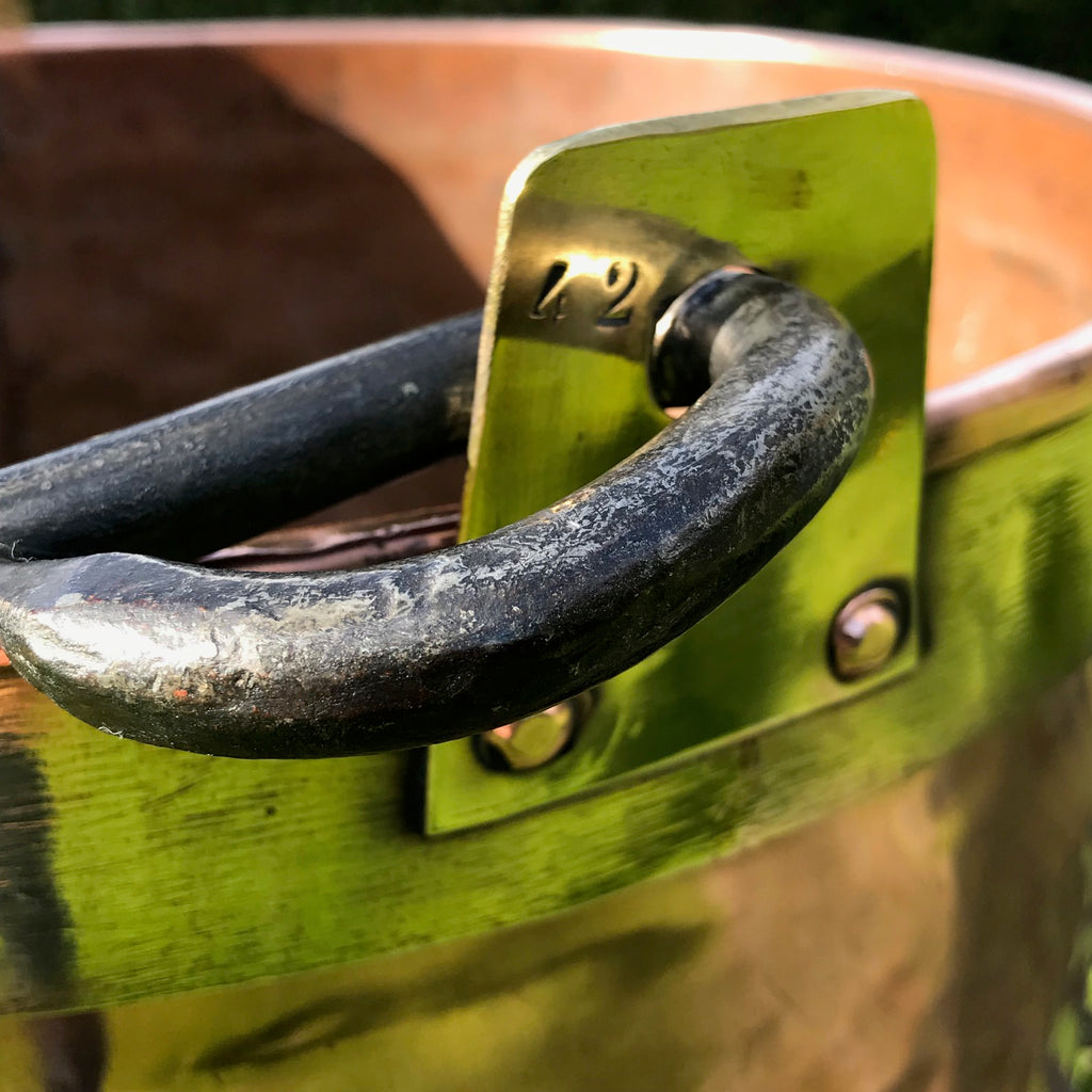 Large 19th Century Copper & Brass Bound Log Bin - Handle Detail View - 3