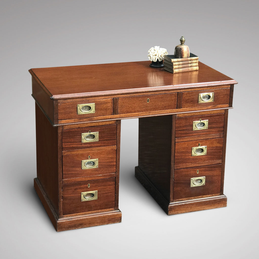 Early 20th Century Mahogany Campaign Desk