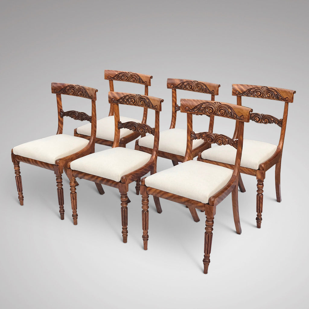 Set of 6 William IV Satin Birch Dining Chairs - Front & Side View - 3