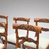 Set of 6 William IV Satin Birch Dining Chairs - Back Detail View - 4