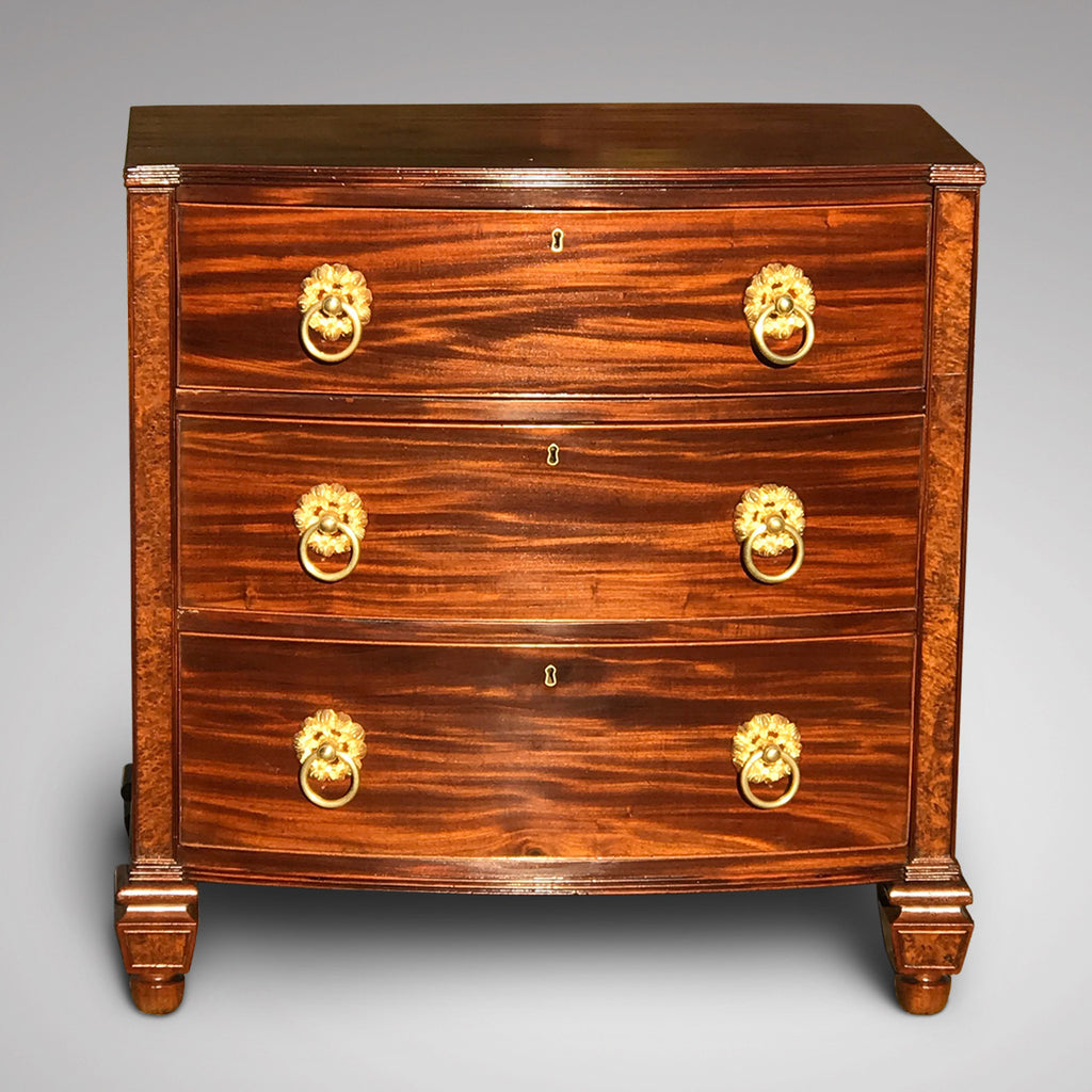 William IV Bow Front Mahogany & Burr Oak Chest of Drawers - Main View - 1