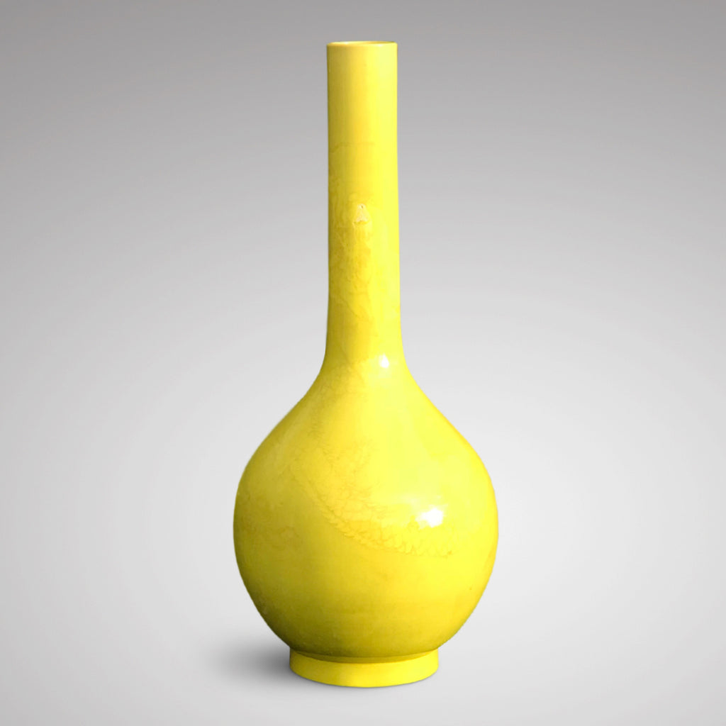 Enormous Yellow Chinese Ceramic Bottle Vase - Main View - 3