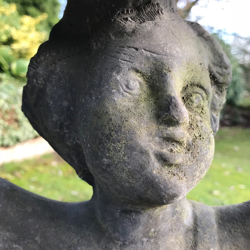 Victorian Lead Birdbath - Detail View of Face - 5