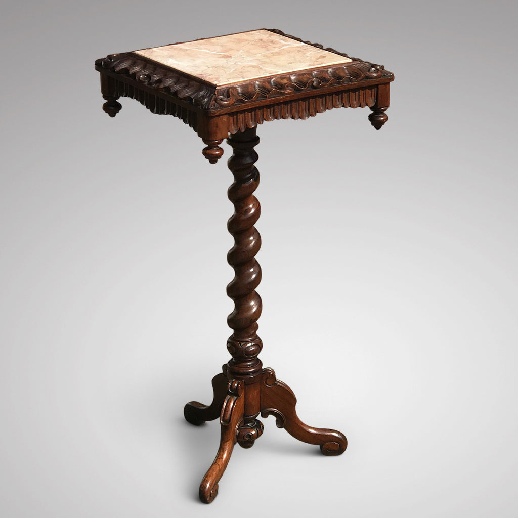 19th Century Rosewood Lamp Table with Marble Top - Main View - 1