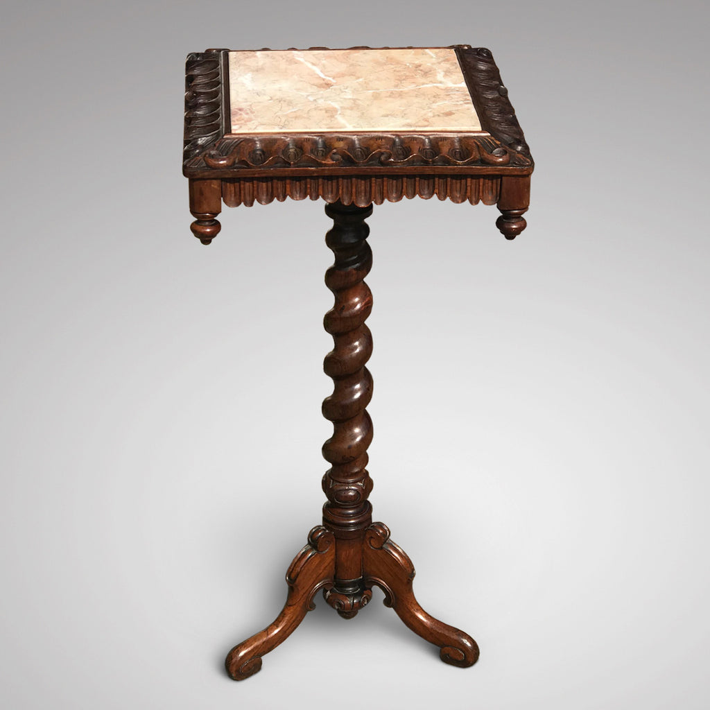 19th Century Rosewood Lamp Table with Marble Top - Main View - 2