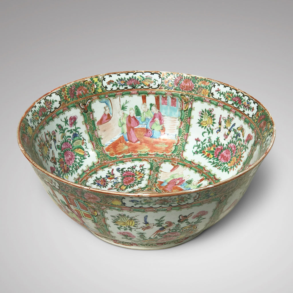 Large 19th Century Cantonese Famille Rose Enamelled Bowl - Main View - 1