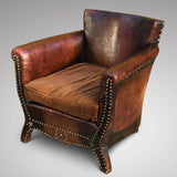 Early 20th Century Leather Armchair - Front & Side View - 1