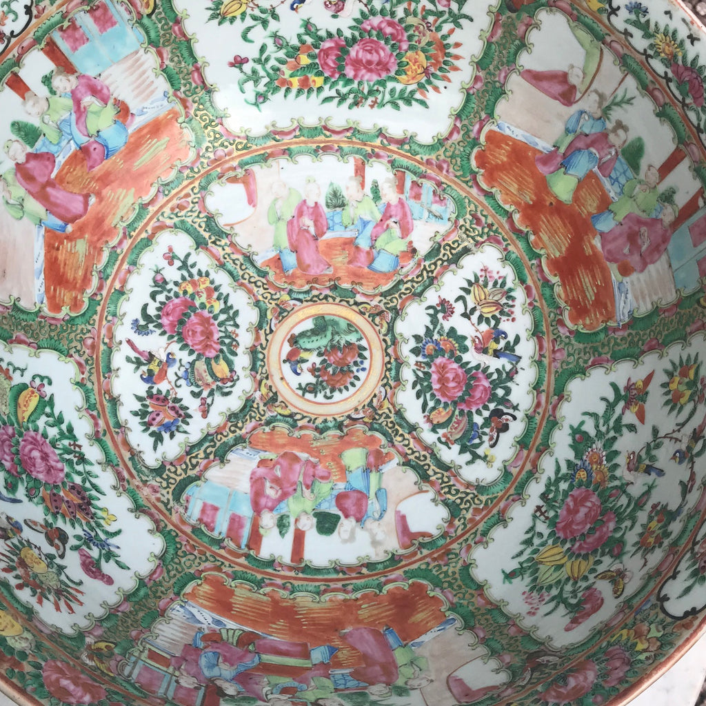 Large 19th Century Cantonese Famille Rose Enamelled Bowl - Detail View - 5