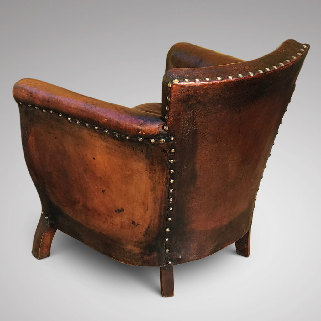 Early 20th Century Leather Armchair - Side & Back View - 2