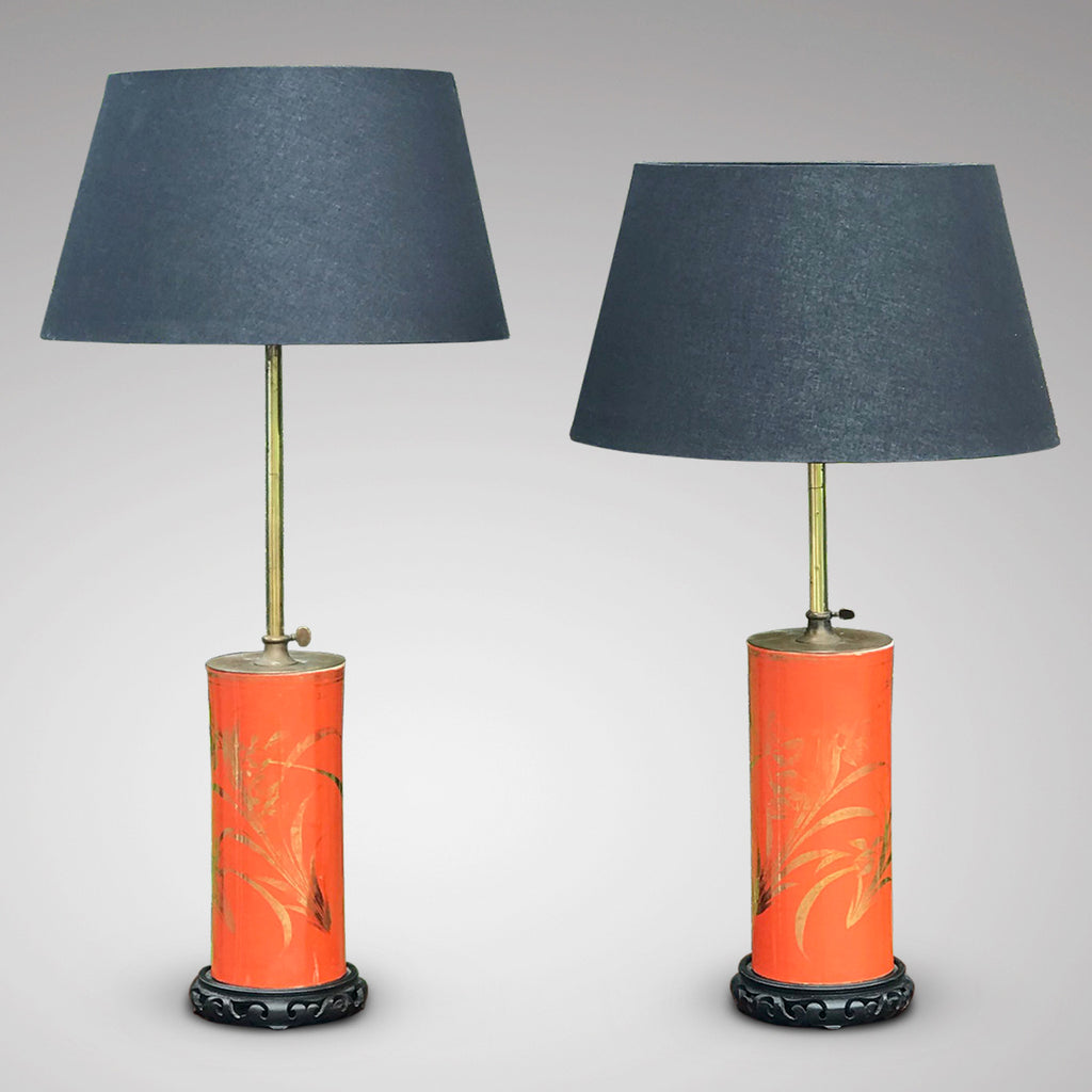 Pair of Early 20th Century Adjustable Lamps in Japanese Style - Main View - 2