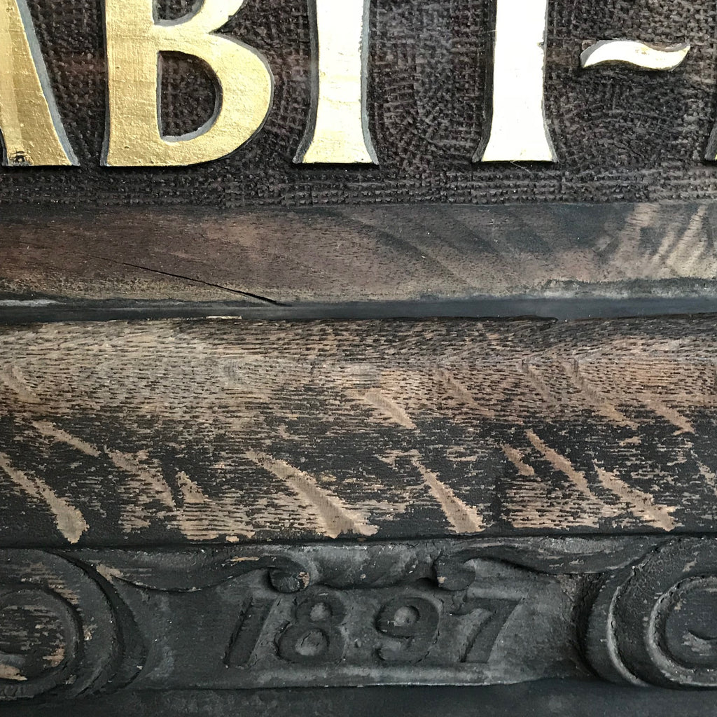 Large 19th Century Shop Sign - Detail View of Date - 3