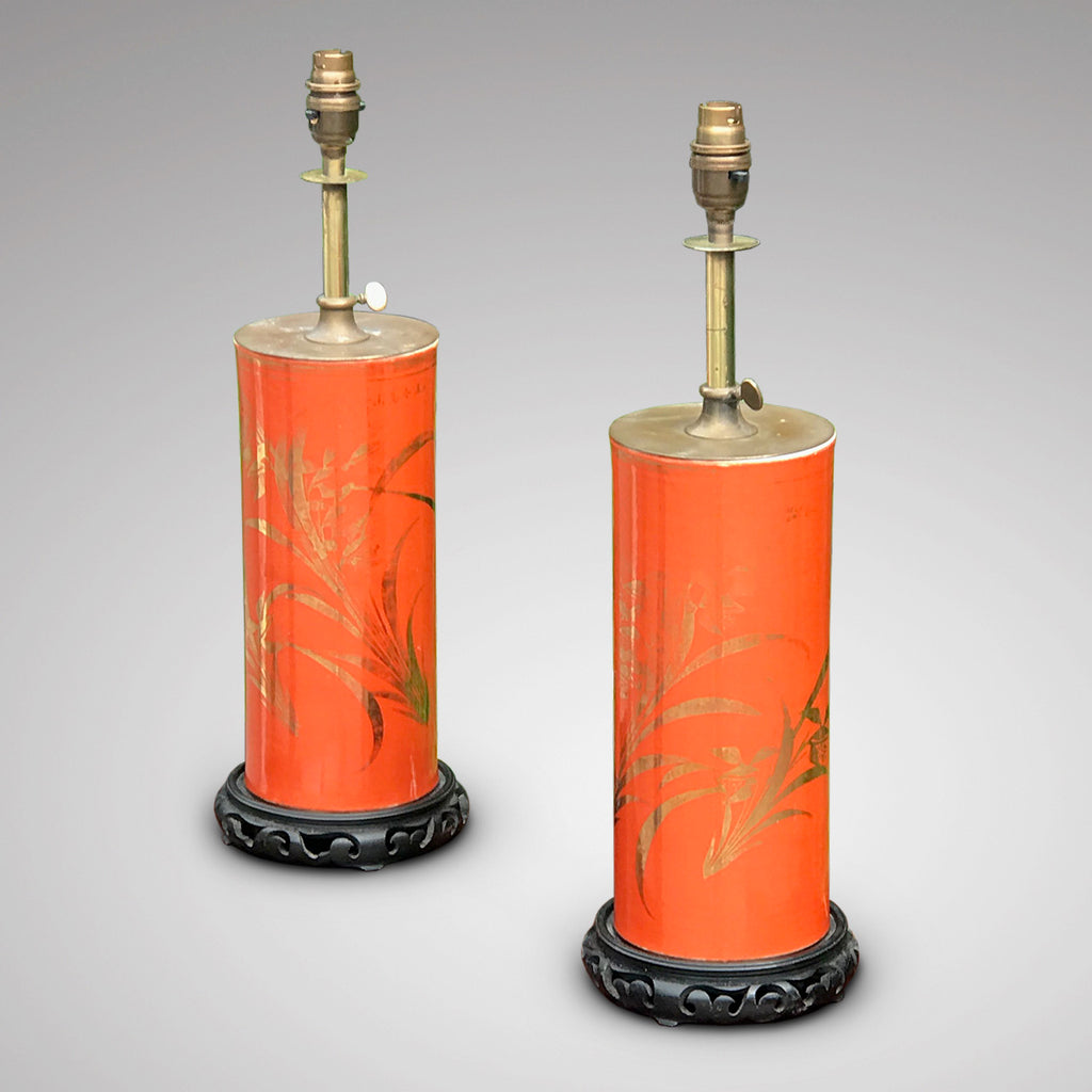 Pair of Early 20th Century Adjustable Lamps in Japanese Style - Main View - 3