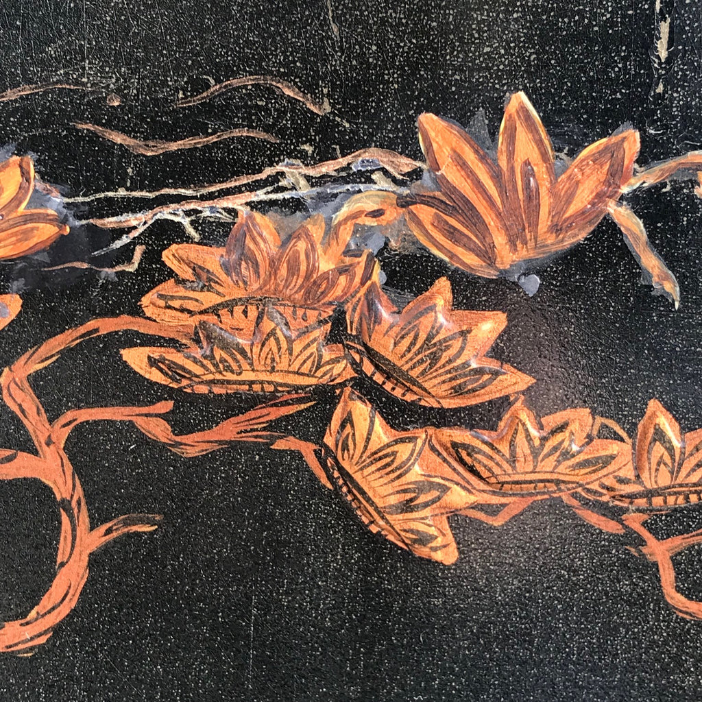 Large 19th Century Chinoiserie Folding Firescreen - Detail View of Decoration - 9
