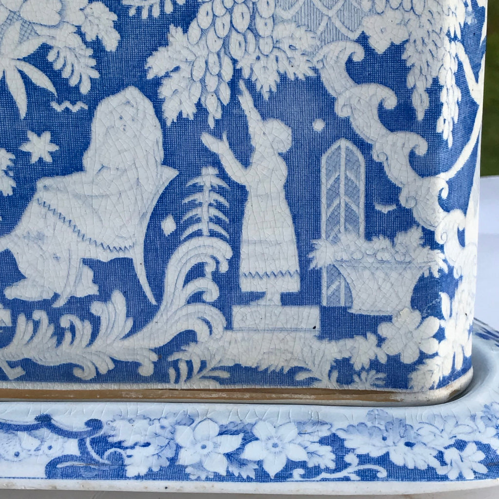 Large 19th Century Blue & White Cheese Dish - Pattern Detail - 5
