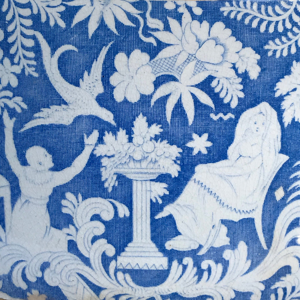 Large 19th Century Blue & White Cheese Dish - Pattern Detail - 4