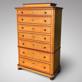 19th Century Painted Chest on Chest with Concave Top - Front & Side View - 1