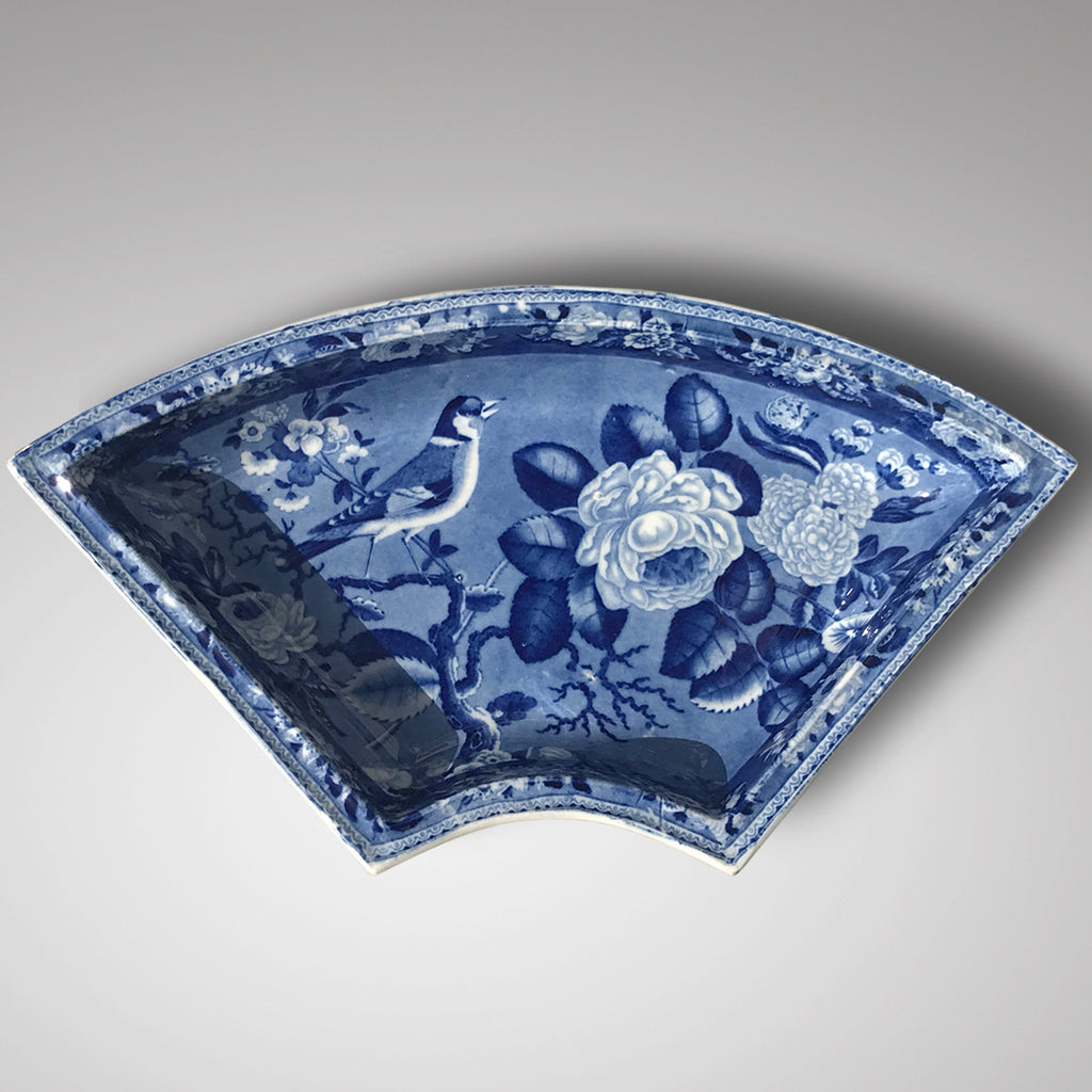 19th Century Blue & White Dish with Goldfinch & Rose Design - Main View - 1
