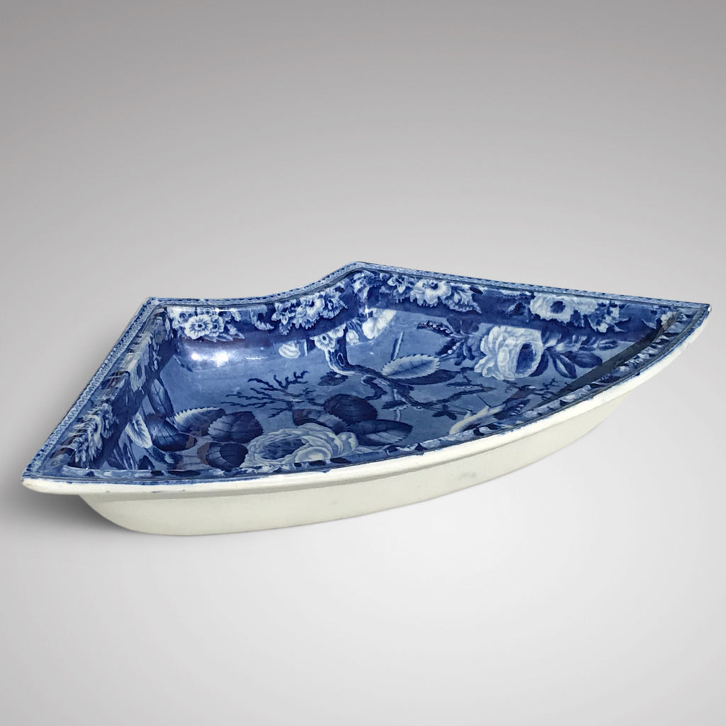 19th Century Blue & White Dish with Goldfinch & Rose Design - Main View - 2
