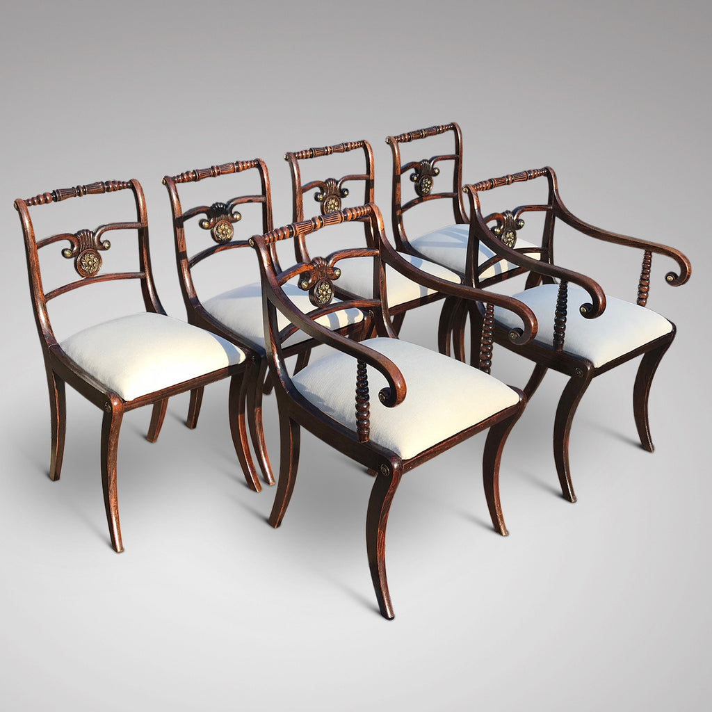 Set of Six Regency Painted Dining Chairs - Main View - 1
