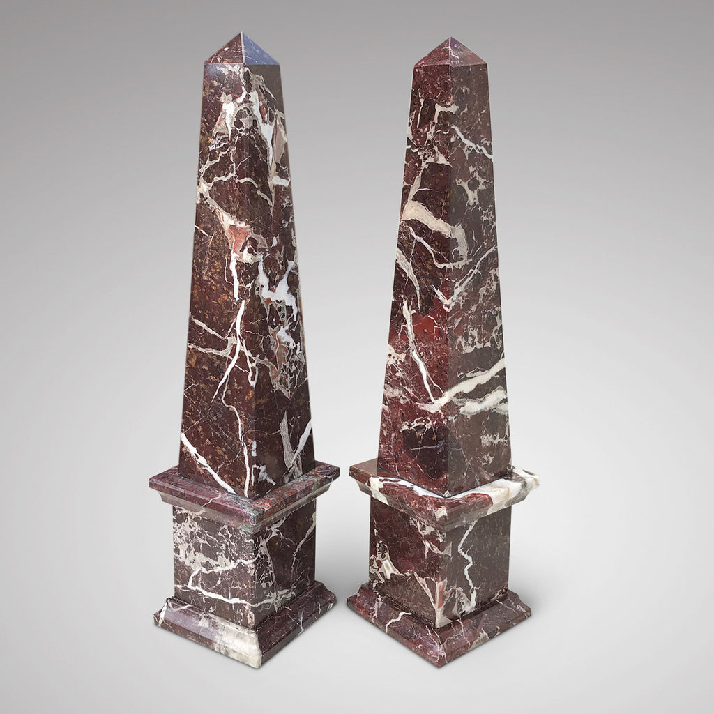 Pair of Early 20th Century Marble Obelisks - Main View - 1