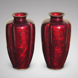 Large Pair of Japanese Red Enamel Vases - Main View - 1