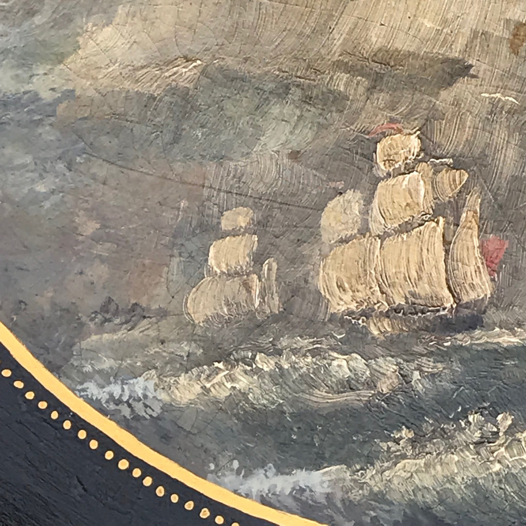 Victorian Papier Mache Tray with Marine Scene - Detail View - 3