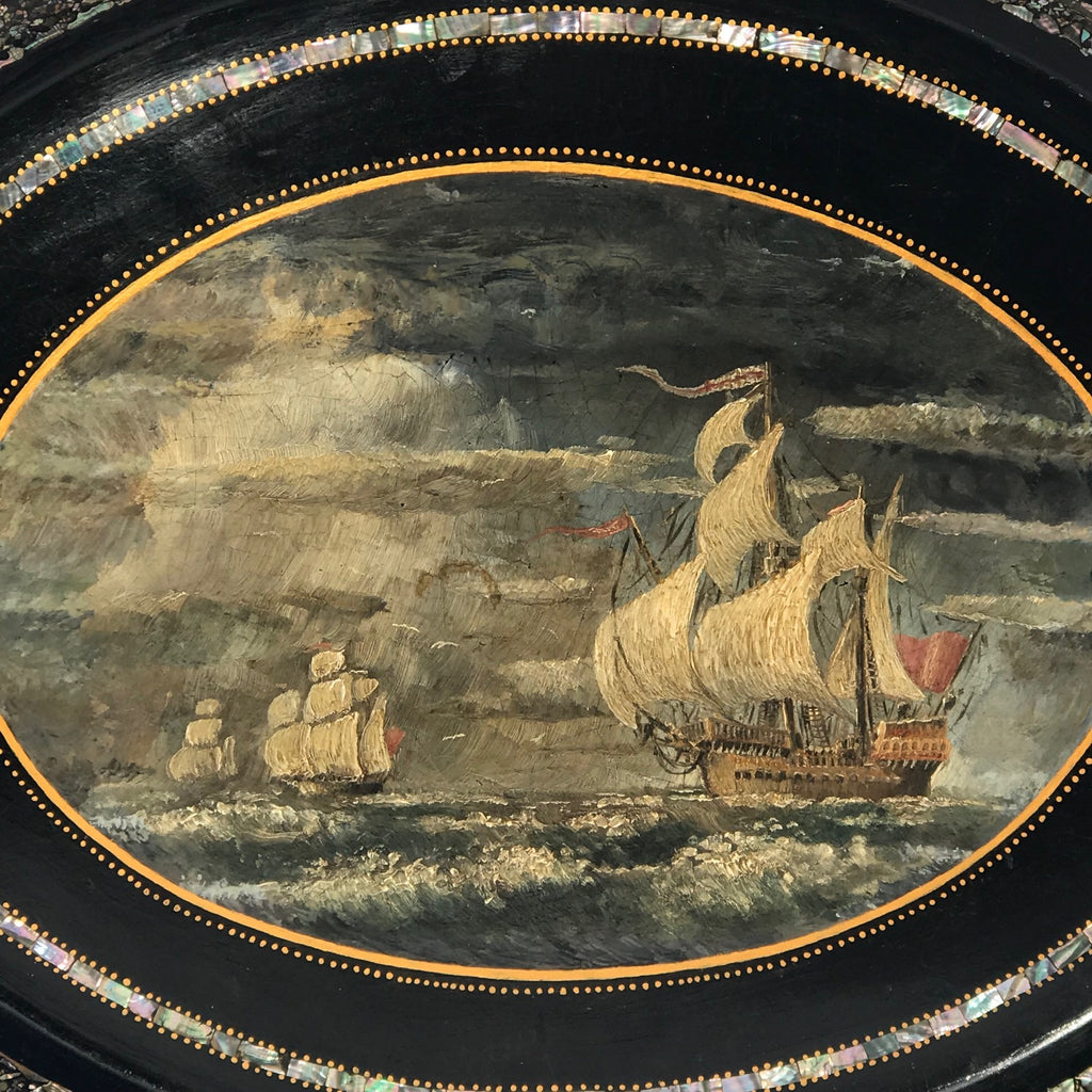Victorian Papier Mache Tray with Marine Scene - Detail View - 2