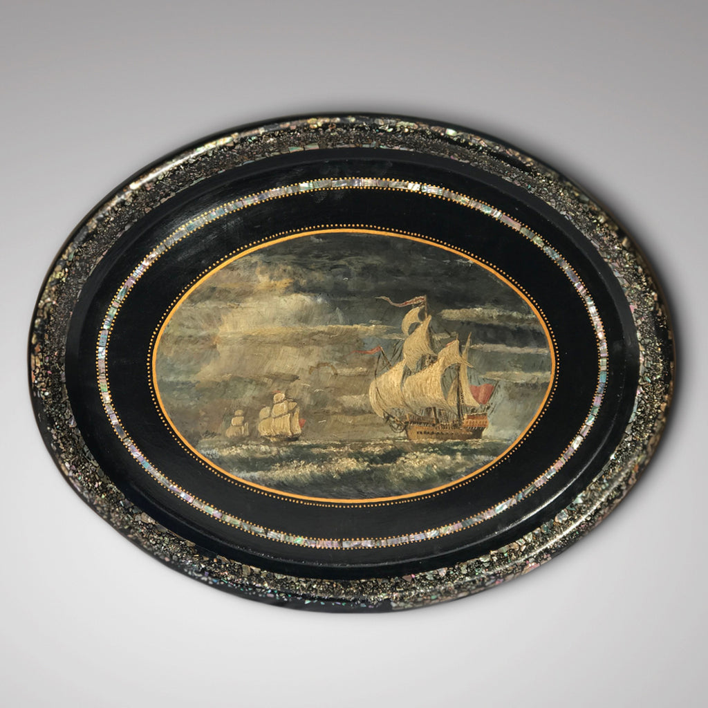 Victorian Papier Mache Tray with Marine Scene - Main View - 1