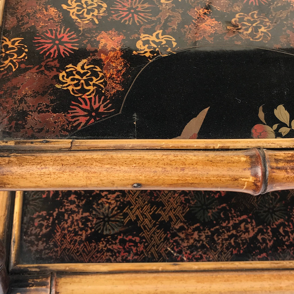 Tiered 19th Century Bamboo & Lacquer Magazine Stand - Detail View - 7