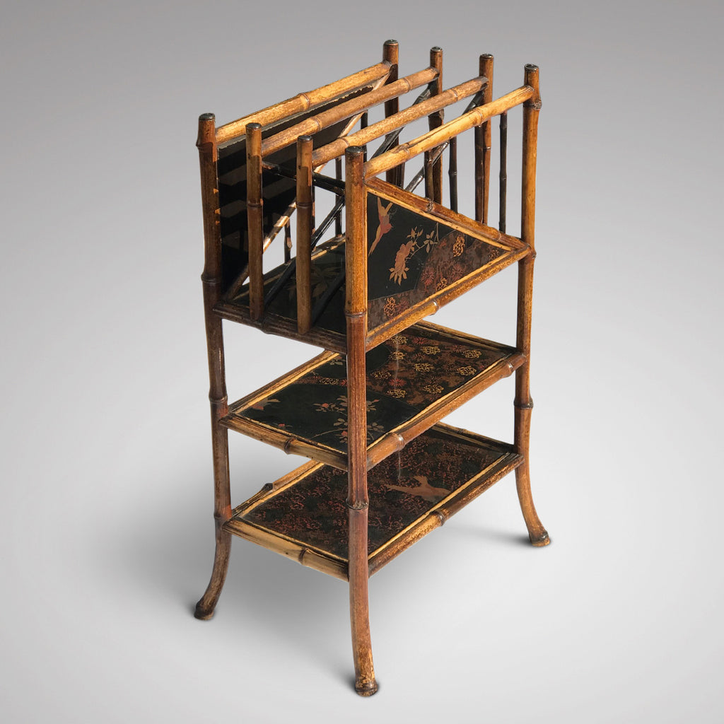 Tiered 19th Century Bamboo & Lacquer Magazine Stand - Main View - 1
