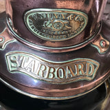 Pair of 19th Century Copper & Brass Ships Lanterns - Detail of Starboard Plaque - 3