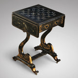 19th Century Japanned & Chinoiserie Painted Games Table
